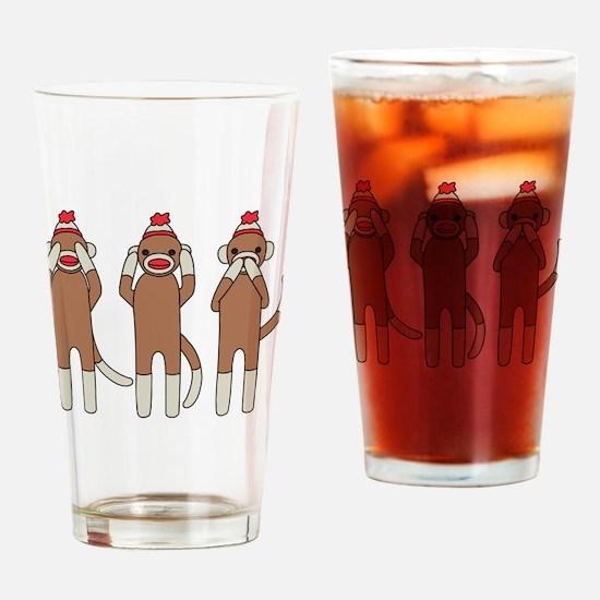 Three Monkeys Drinking Glass