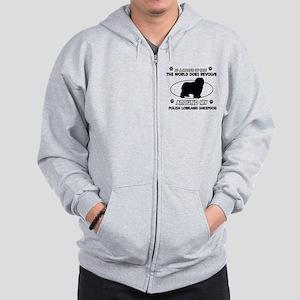 Polish Lowland Sheep dog funny designs Zip Hoodie