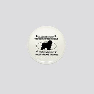 Polish Lowland Sheep dog funny designs Mini Button