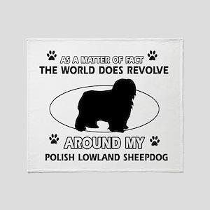 Polish Lowland Sheep dog funny designs Throw Blank