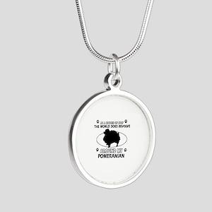 Pomeranian dog funny designs Silver Round Necklace