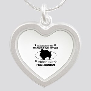 Pomeranian dog funny designs Silver Heart Necklace