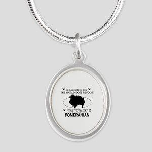 Pomeranian dog funny designs Silver Oval Necklace