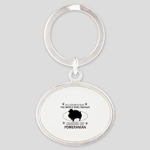 Pomeranian dog funny designs Oval Keychain