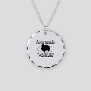 Pomeranian dog funny designs Necklace Circle Charm