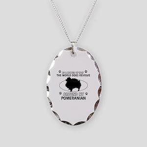Pomeranian dog funny designs Necklace Oval Charm