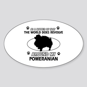 Pomeranian dog funny designs Sticker (Oval)