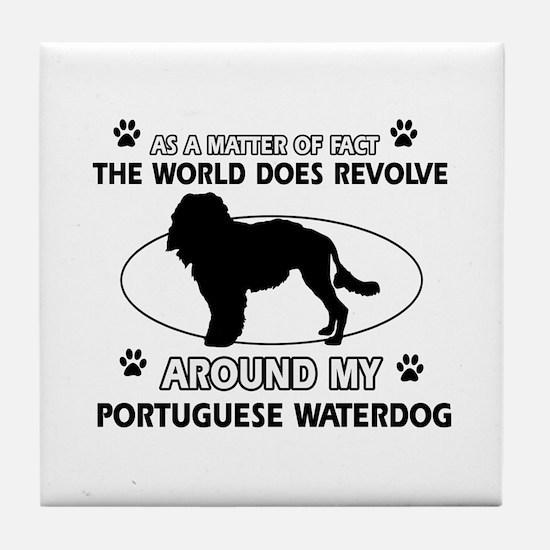 Portuguese water dog funny designs Tile Coaster