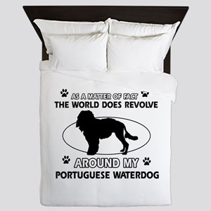 Portuguese water dog funny designs Queen Duvet