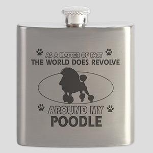 Poodle dog funny designs Flask