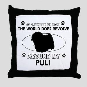 Puli dog funny designs Throw Pillow