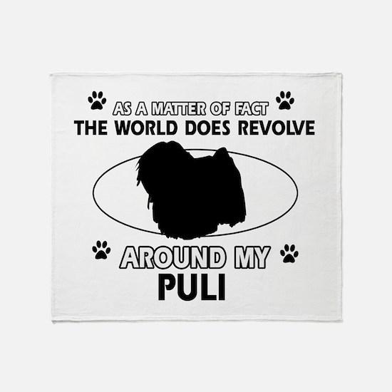 Puli dog funny designs Throw Blanket
