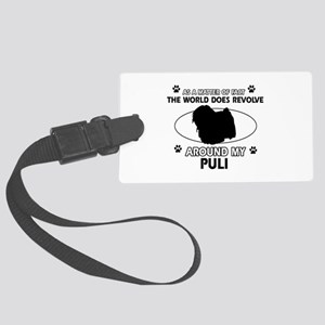 Puli dog funny designs Large Luggage Tag