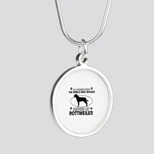 Rottweiler dog funny designs Silver Round Necklace