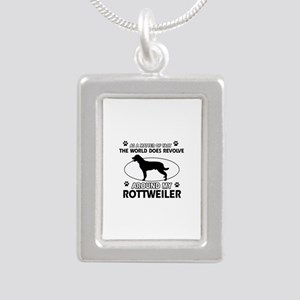 Rottweiler dog funny designs Silver Portrait Neckl