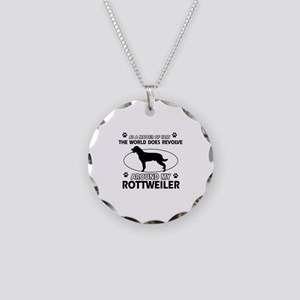 Rottweiler dog funny designs Necklace Circle Charm