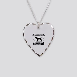 Rottweiler dog funny designs Necklace Heart Charm