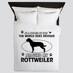Rottweiler dog funny designs Queen Duvet