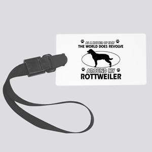 Rottweiler dog funny designs Large Luggage Tag