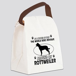Rottweiler dog funny designs Canvas Lunch Bag