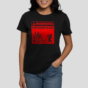 Warning: Explosives Red Women's Dark T-Shirt