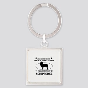 Schipperke dog funny designs Square Keychain