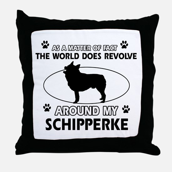 Schipperke dog funny designs Throw Pillow