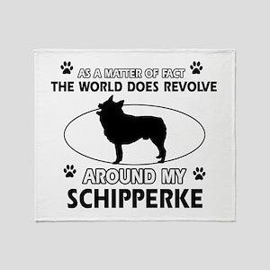 Schipperke dog funny designs Throw Blanket