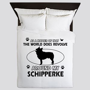 Schipperke dog funny designs Queen Duvet