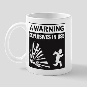Warning: Explosives Black Mug