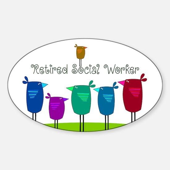 Retired Social Worker Sticker (Oval)