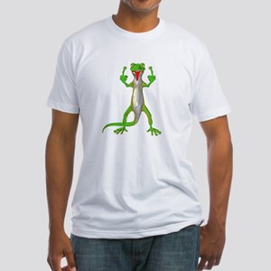 Gecko Lizard Flipping Off Fitted T-Shirt