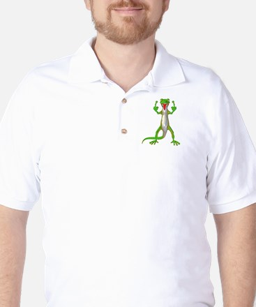 Gecko Lizard Flipping Off Golf Shirt
