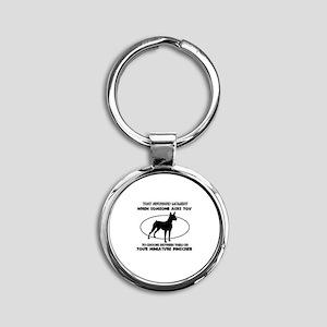 Miniature Pinscher dog funny designs Round Keychai