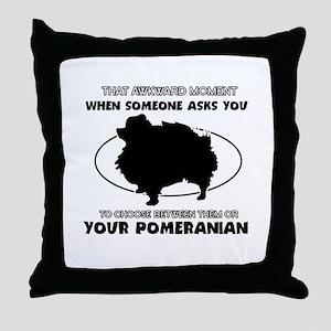 Pomeranian dog funny designs Throw Pillow