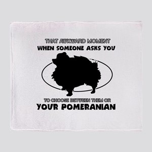 Pomeranian dog funny designs Throw Blanket