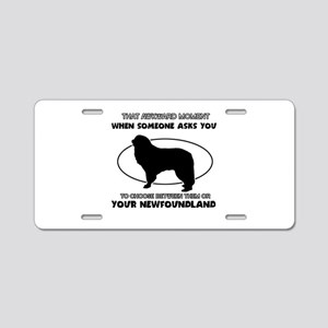 Newfoundland dog funny designs Aluminum License Pl