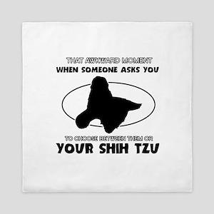Shih Tzu dog funny designs Queen Duvet