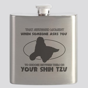 Shih Tzu dog funny designs Flask