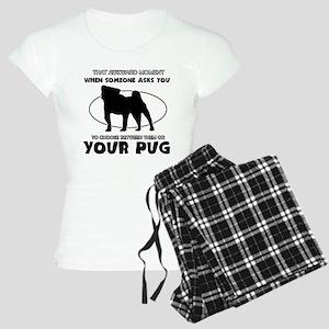 Pug dog funny designs Women's Light Pajamas
