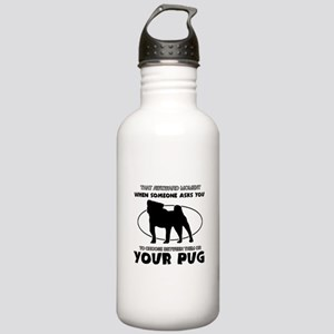 Pug dog funny designs Stainless Water Bottle 1.0L