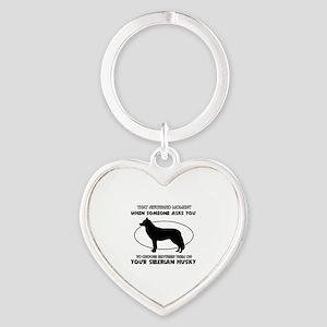 Siberian Husky dog funny designs Heart Keychain