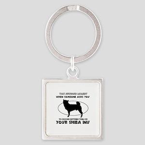 Shiba Inu dog funny designs Square Keychain