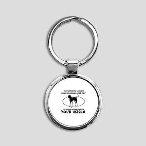 Vizsla dog funny designs Round Keychain
