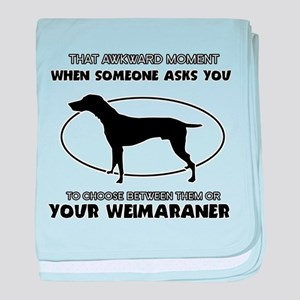 Weimaraner dog funny designs baby blanket