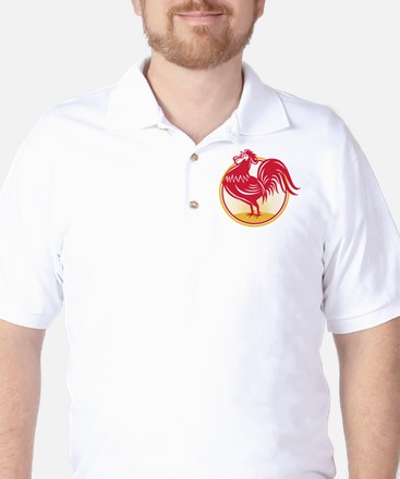 Rooster Cockerel Crowing Retro Golf Shirt