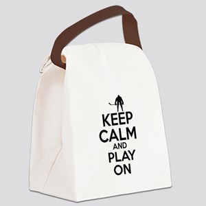 Keep calm and play Ice Hockey Canvas Lunch Bag