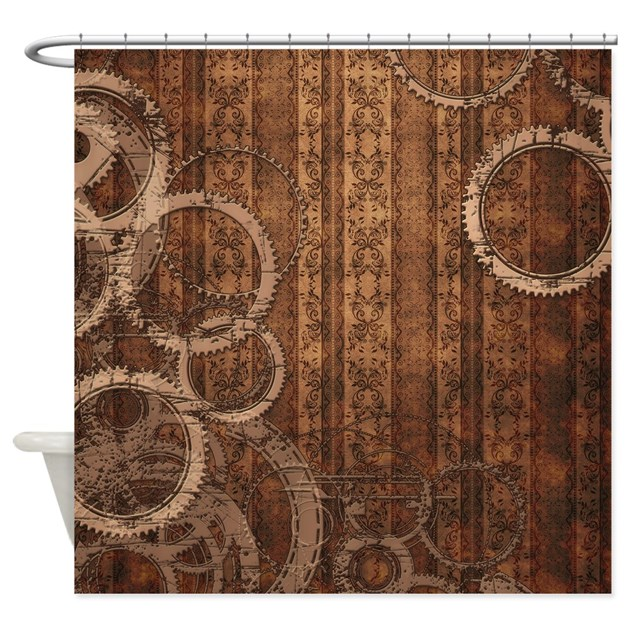 Steampunk Gears And Wallpaper Shower Curtain By
