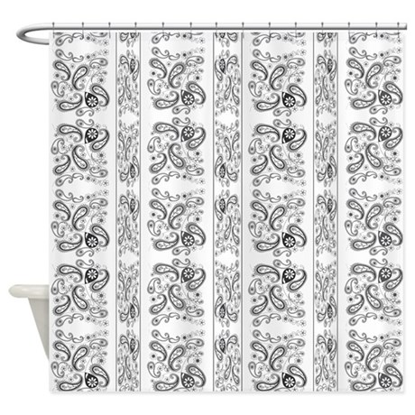 black and white paisley shower curtain classic shower curtains paisley bw black and white curtains cafepress