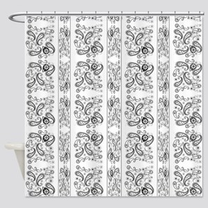 Shower Curtains Paisley B W